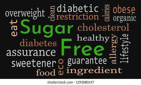 Sugar free message background. Healthy food concept - Illustration