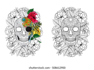Sugar skull - coloring book page with coloring example.
