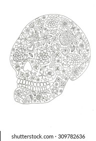 Sugar skull day of the dead coloring page