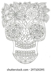 Sugar skull day of the dead Halloween line art coloring page illustration