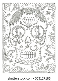 Sugar skull day of the dead halloween coloring page illustration