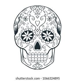 sugar skull doodle sketch, coloring page, raster copy