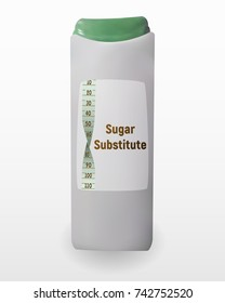 A sugar substitute . Illustration of the sweetener in the bottle. Tablets of Sucralose for tea and coffee. Diabetic food.