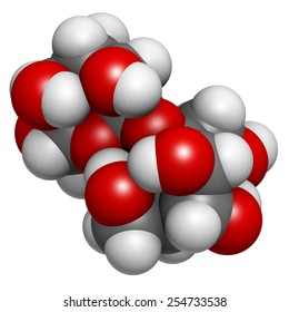 Sugar (sucrose, saccharose) molecule, chemical structure. Atoms are represented as spheres with conventional color coding: hydrogen (white), carbon (grey), oxygen (red)