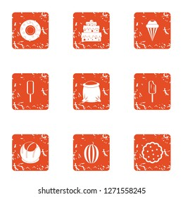 Sugariness icons set. Grunge set of 9 sugariness icons for web isolated on white background