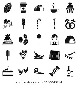 Sugary food icons set. Simple set of 25 sugary food icons for web isolated on white background