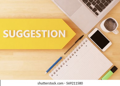 Suggestion - linear text arrow concept with notebook, smartphone, pens and coffee mug on desktop - 3D render illustration.