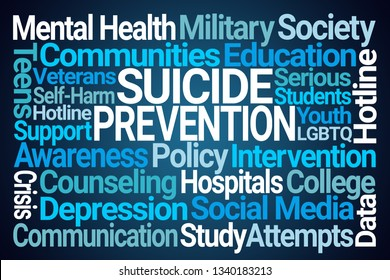 Suicide Prevention Word Cloud on Blue Background