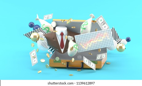 Suit, money, graph floating from businessman's bag amidst colorful balls on blue background.-3d rendering.