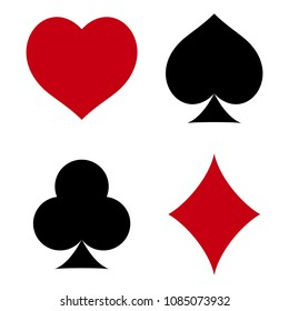 Suit of playing cards. Hearts, Spades, Clubs, Diamonds. Raster illustration on white background.