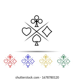 suit of playing cards multi color style icon. Simple thin line, outline illustration of casino icons for ui and ux, website or mobile application
