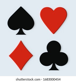 Suit of playing cards. Symbols isolated on white background with 3d effect. 3d render