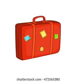 Suitcase icon in cartoon style isolated on white background. Luggage symbol