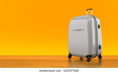 Suitcase on orange background. 3d illustration