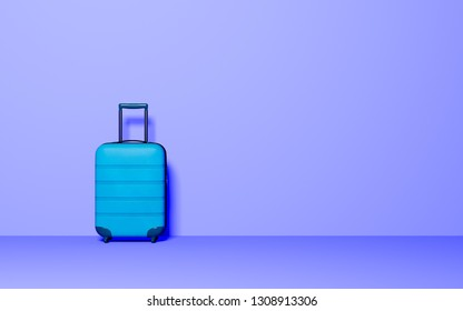 Suitcase on pastel background. Travel baggage concept. Minimal style. Copy space. 3D rendering illustration