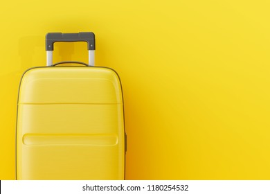 Suitcase on yellow background. travel concept. 3d rendering