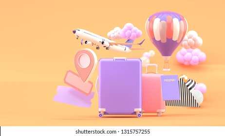 Suitcase surrounded by air tickets, airplanes, balloons and location icon on an orange background.-3d rendering.