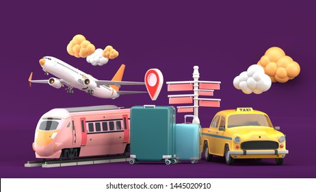 Suitcase surrounded by taxis, electric trains and planes on a purple background.-3d rendering.