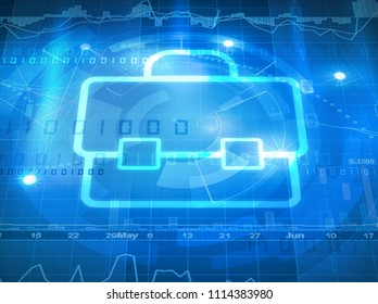 suitcase symbol on stock market data background