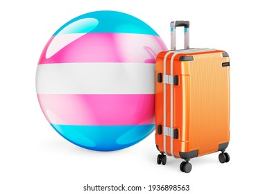 Suitcase with transgender flag, 3D rendering isolated on white background