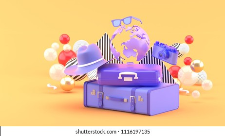 A suitcase under the globe surrounded by a camera and hat on an orange background.-3d rendering.
