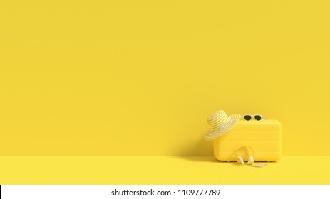 suitcase yellow color with sunglasses with hat with headphone and smartphone on yellow background. summer concept and minimal style, 3d render.