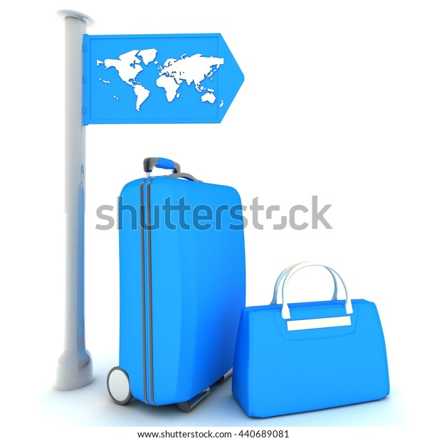 SUITCASES ON A WHITE BACKGROUND. 3D rendering.