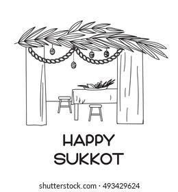 Sukkah with table, food and Sukkot symbols. Happy Sukkot in Hebrew.