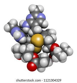 Sulbutiamine asthenia drug molecule. Also used in nutritional supplements. 3D rendering. Atoms are represented as spheres with conventional color coding.
