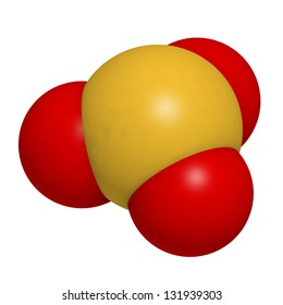 Sulfite (sulphite) food and wine preservative, molecular model. Atoms are represented as spheres with conventional color coding: sulfur (yellow), oxygen (red)