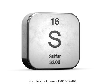 Sulfur element from the periodic table. Metallic icon 3D rendered on white background