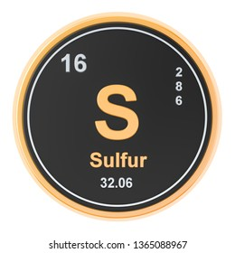 Sulfur S chemical element. 3D rendering isolated on white background
