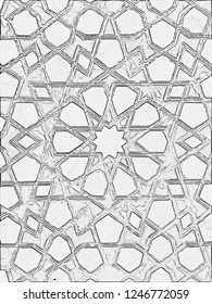 Sultan Palace Stained Glass Pencil Sketch