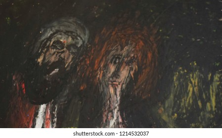 sultan and sultana,draw,oil pastel painting on paper
