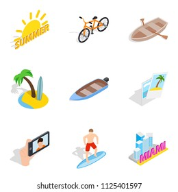 Sultry summer icons set. Isometric set of 9 sultry summer icons for web isolated on white background