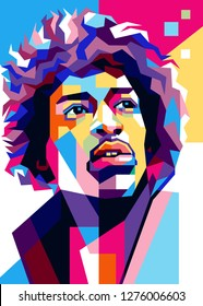 """Sumbawa Indonesia, January 6th, 2019: James Marshall """"Jimi"""" Hendrix (27 November 1942 - 18 September 1970) is a musician, singer, songwriter, guitarist and figure of American culture. Illustration"""