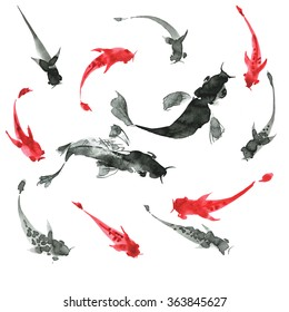 Sumi-e hand drawn ink fishes, black and red. Japan traditional style.