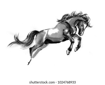 Sumi-e illustration of a leaping horse, moving to the right. Oriental ink painting, isolated on white background.