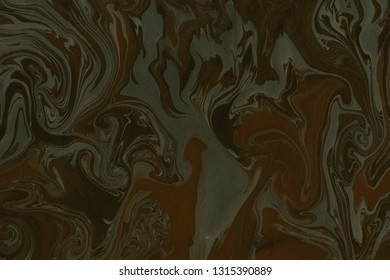 Suminagashi marble texture hand painted with brown ink. Digital paper 315 performed in traditional japanese suminagashi floating ink technique. Immaculate liquid abstract background.