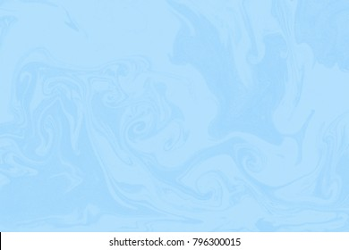 Suminagashi marble texture hand painted with light blue ink. Digital paper 1343. Posh liquid abstract background.