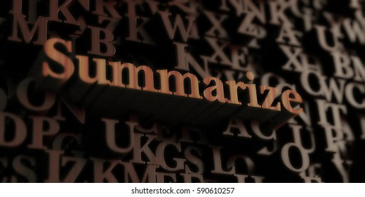 Summarize - Wooden 3D rendered letters/message.  Can be used for an online banner ad or a print postcard.