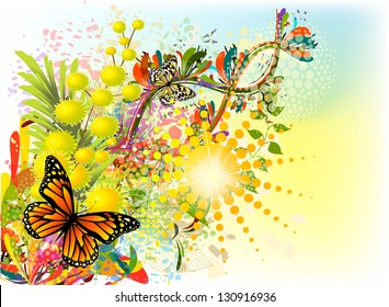 Summer abstraction with butterfly. Raster