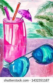 Summer background. Hand drawn watercolor summer cocktail and sunglases.