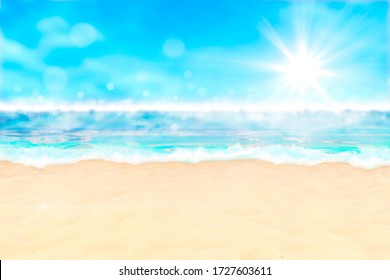 Summer background, nature of tropical golden beach with blue sky and white clouds. Golden sand beach with glare in water and defocused landscape. Copy space, summer vacation concept. 3d render.
