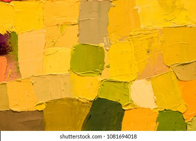 Summer background. Oil painting on canvas. Color texture. Fragment of artwork for print. Spots of paint. Brushstrokes of bright paint. Modern art. Contemporary art for interior. Colorful canvas.