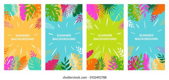Sommerhintergrund. Sommerpflanzendesign für Social Media-Geschichten. Sommerhintergrund im Flachstil.