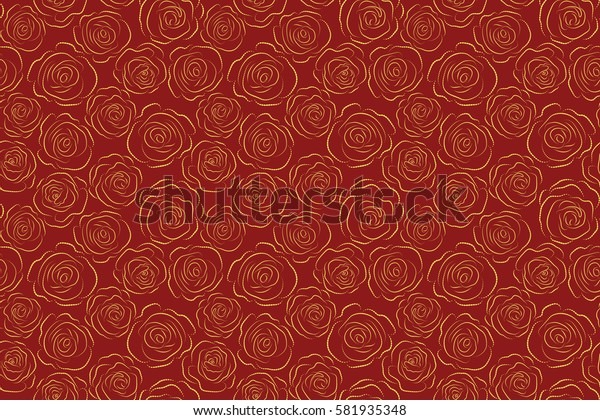 Summer background. Rose flowers dashed silhouette, abstract, monochrome, red and yellow colors. Seamless pattern can be used as greeting card, invitation card for wedding, birthday and other holidays.