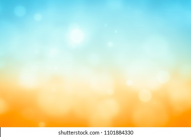 Summer background with sun abstract bokeh texture. Blue orange and yellow light color gradient wallpaper with white sky sunlight design vintage backdrop illustration.