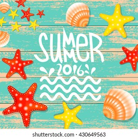 Summer background vintage poster with illustration of Colorful Starfish,Scallop seashell.