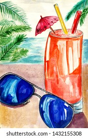 Summer background. Watercolor illustration . Sunglases with cocktails.
